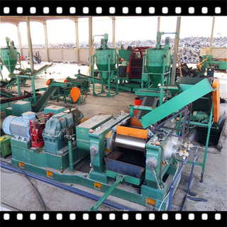 Double rollers cracker mill for waste tyre recycling
