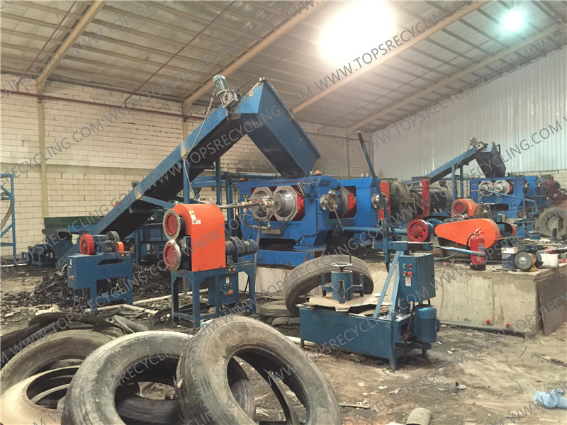Economical semi-automatic scrapped waste tires to rubber powder recycling Plant